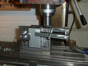 Set up for machining the end of the crankcase of the multi-cylinder square to the long face.