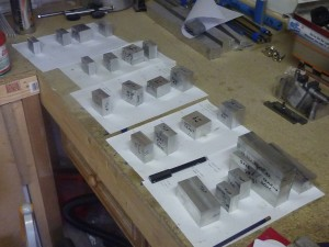 The blanks for the cylinders, cylinder heads and crankcases all machined square and to size.