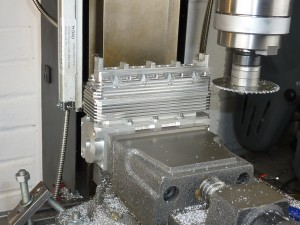 Machining the cooling fins in the 20IL4 SOHC cylinder head.